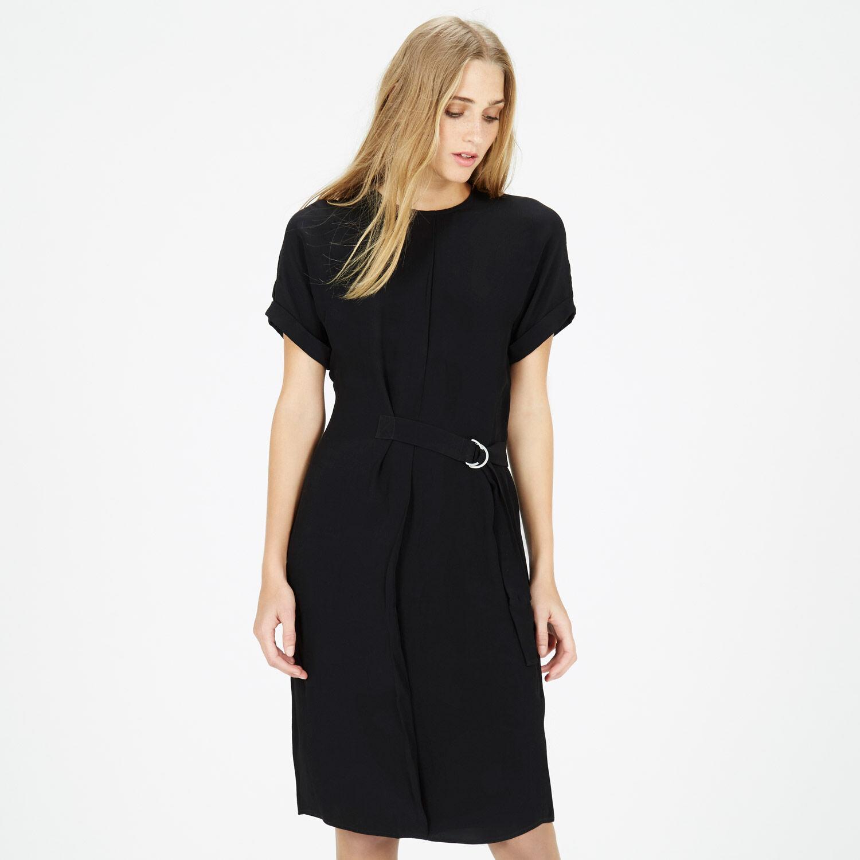Warehouse, DROPPED SHOULDER BELTED DRESS Black 1