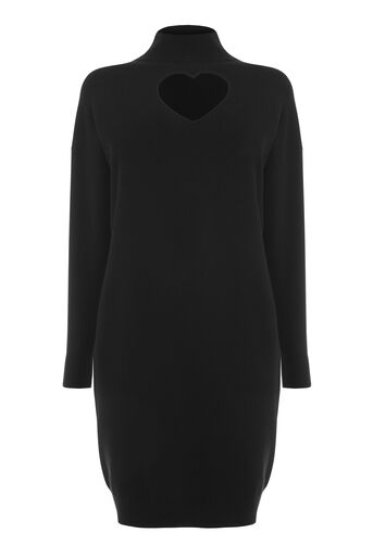 Warehouse, HEART CUT OUT DRESS Black 0