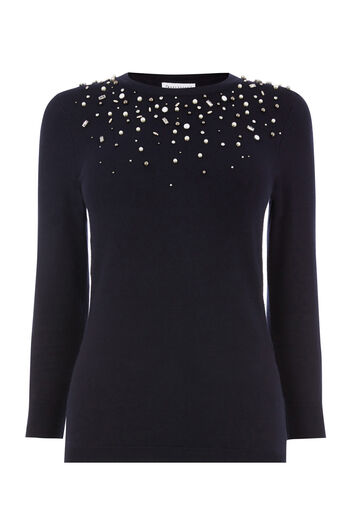 Warehouse, EMBELLISHED FRONT JUMPER Navy 0