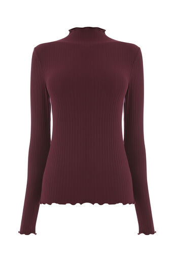Warehouse, LONG SLEEVE RIB POLO TOP Berry 0