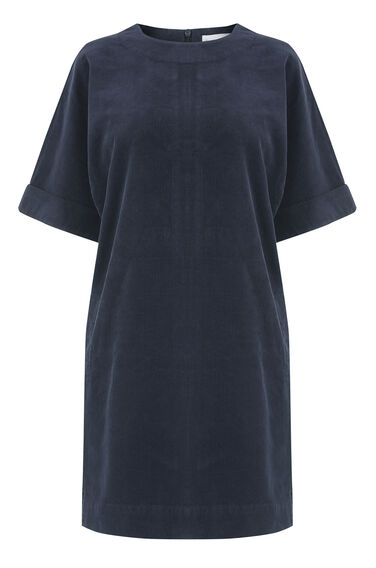 Warehouse, Cord Relaxed Shift Dress Navy 0