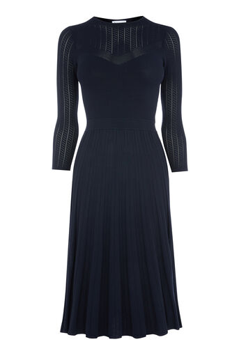 Warehouse, POINTELLE PLEATED FLIPPY DRESS Navy 0