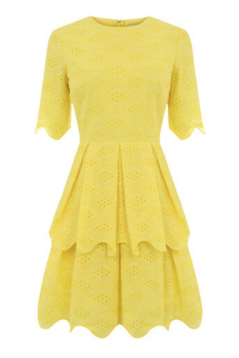 Warehouse, BROIDERIE DRESS Yellow 0