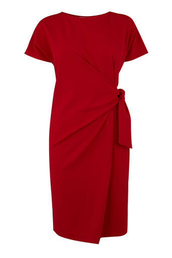 Warehouse, TIE SIDE TWILL DRESS Dark Red 0