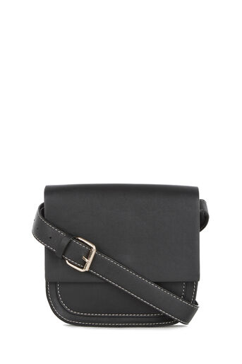 Warehouse, Stitch Detail Saddle Bag Black 0