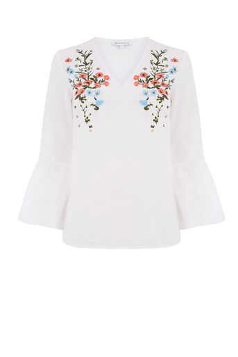 Warehouse, FREIDA EMBROIDERED TOP White 0