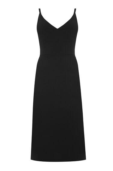 Warehouse, STRAPPY SHIFT CREPE DRESS Black 0