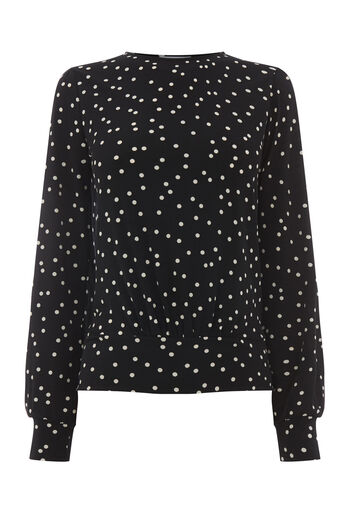 Warehouse, POLKA DOT BALLOON SLEEVE TOP Black Pattern 0