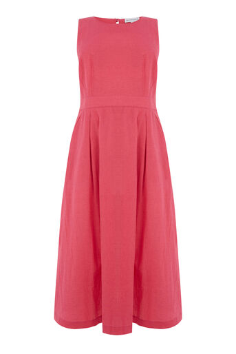 Warehouse, TIE BACK MIDI DRESS Bright Pink 0