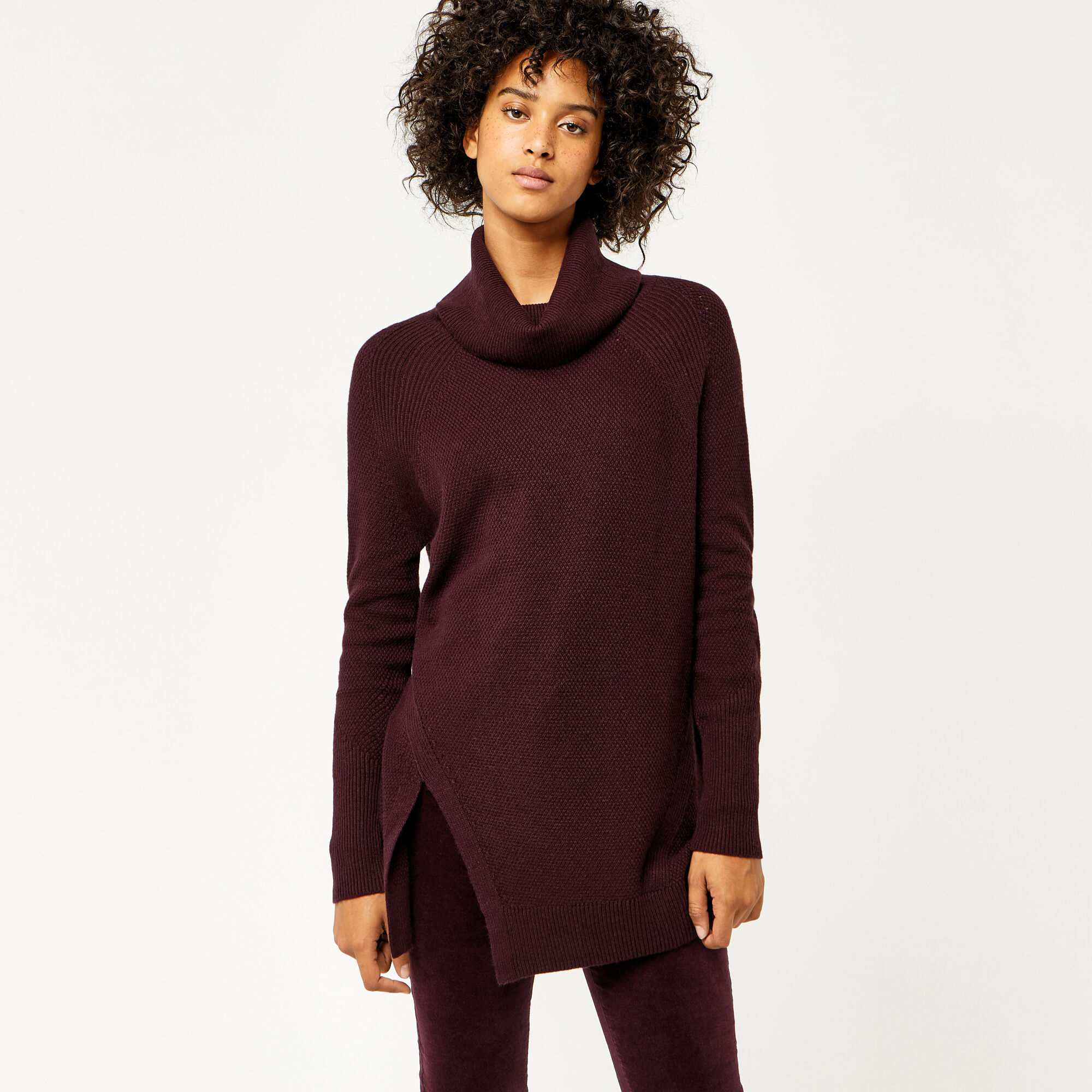 Warehouse, STITCHY COWL NECK JUMPER Berry 1