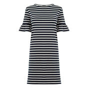 Warehouse, STRIPE FLUTE SLEEVE DRESS Blue Stripe 0