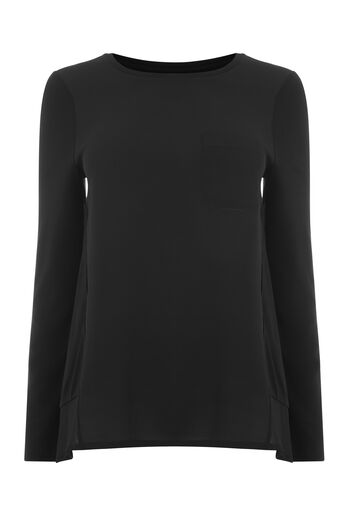 Warehouse, POCKET DETAIL WOVEN MIX TOP Black 0