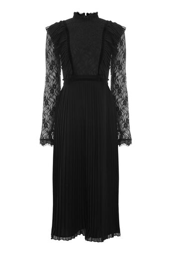 Warehouse, PLEAT AND LACE DRESS Black 0