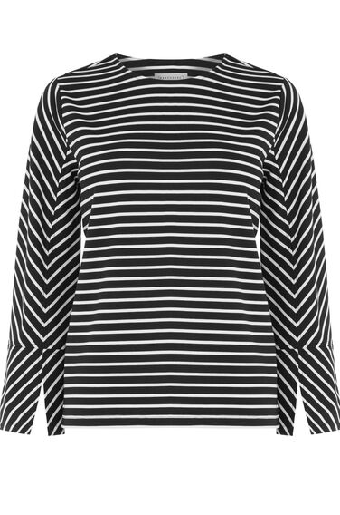 Warehouse, STRIPE SPLIT SLEEVE PONTE TOP Black Stripe 0