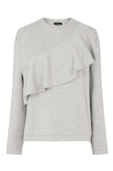 Warehouse, RUFFLE SWEAT Light Grey 0