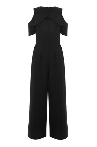 Warehouse, CREPE OVERLAY JUMPSUIT Black 0