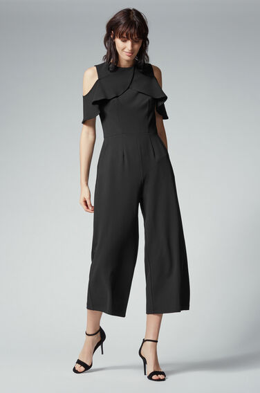 Warehouse, CREPE OVERLAY JUMPSUIT Black 1