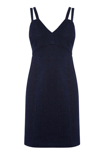 Warehouse, STRAPPY BODYCON DRESS Dark Wash Denim 0