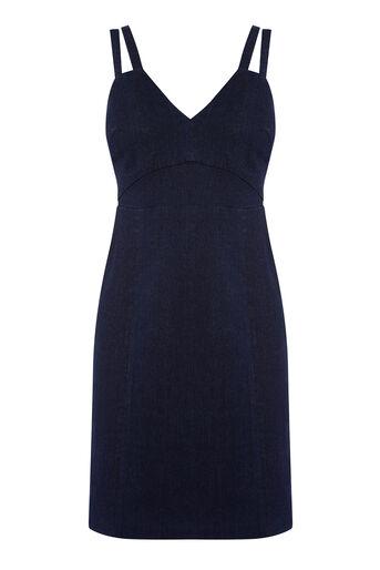 Warehouse, Nauwsluitende jurk met bandjes Darkwash denim 0