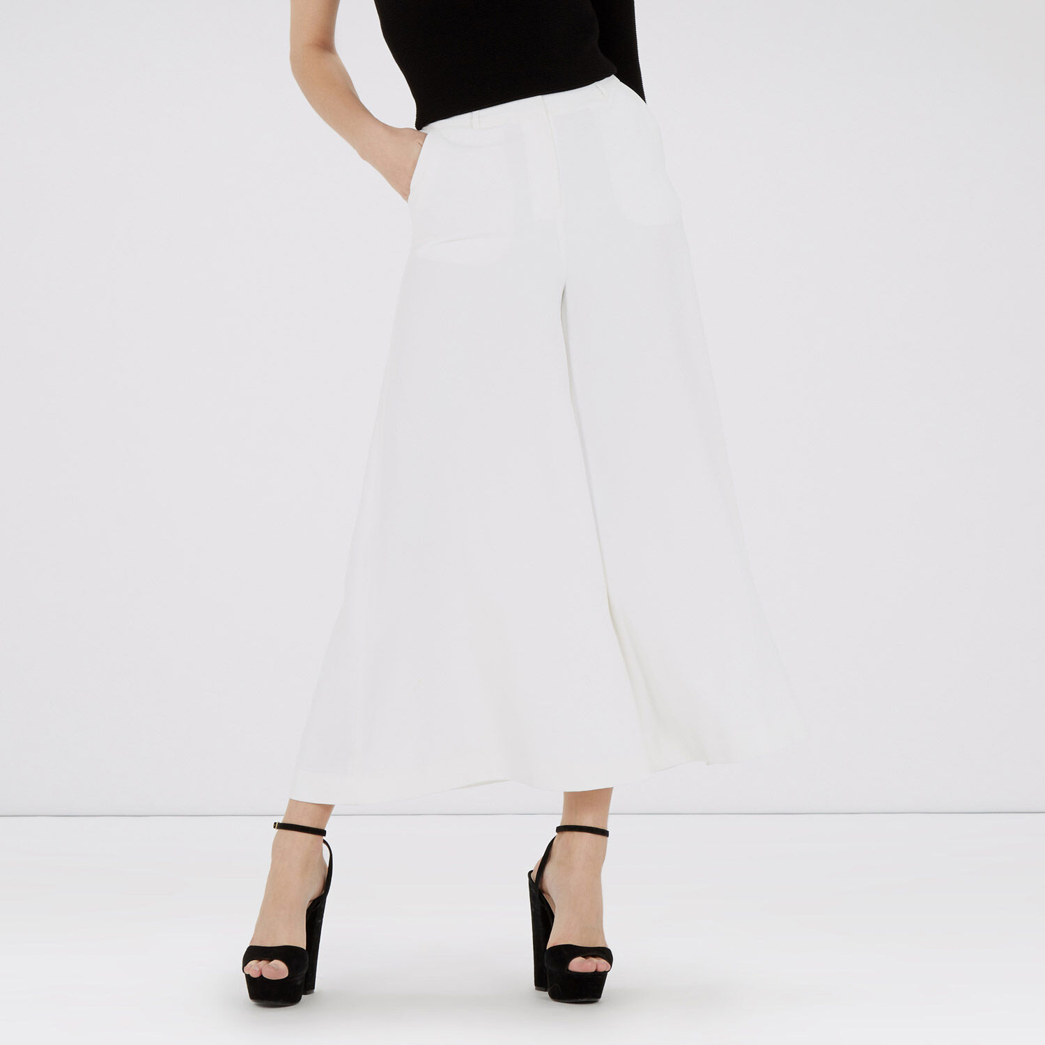Warehouse, Cropped Wide Leg Trousers Cream 1