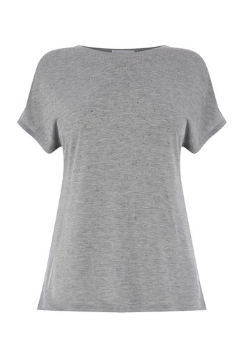 Warehouse, SCATTER EMBELLISHED TEE Dark Grey 0