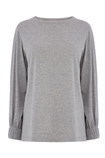 Warehouse, RUCHED CUFF TOP Light Grey 0