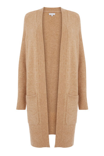 Warehouse, SOFT LONG LINE CARDI Camel 0