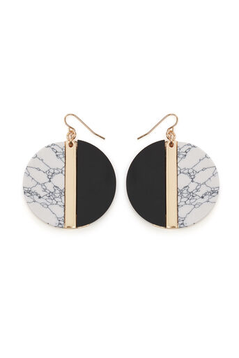 Warehouse, RESIN AND MARBLE DROP EARRINGS Black 0