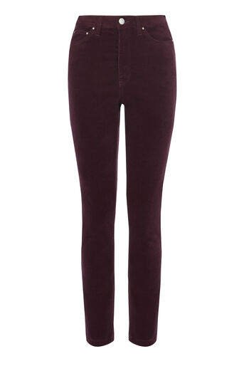 Warehouse, HIGH RISE VELVET SKINNY JEANS Berry 0