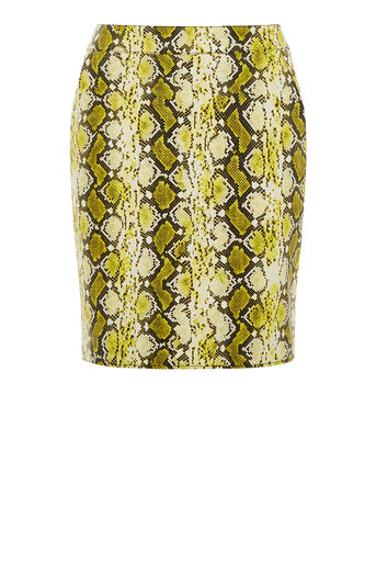Warehouse, Faux Leather Snake Skirt Yellow 0