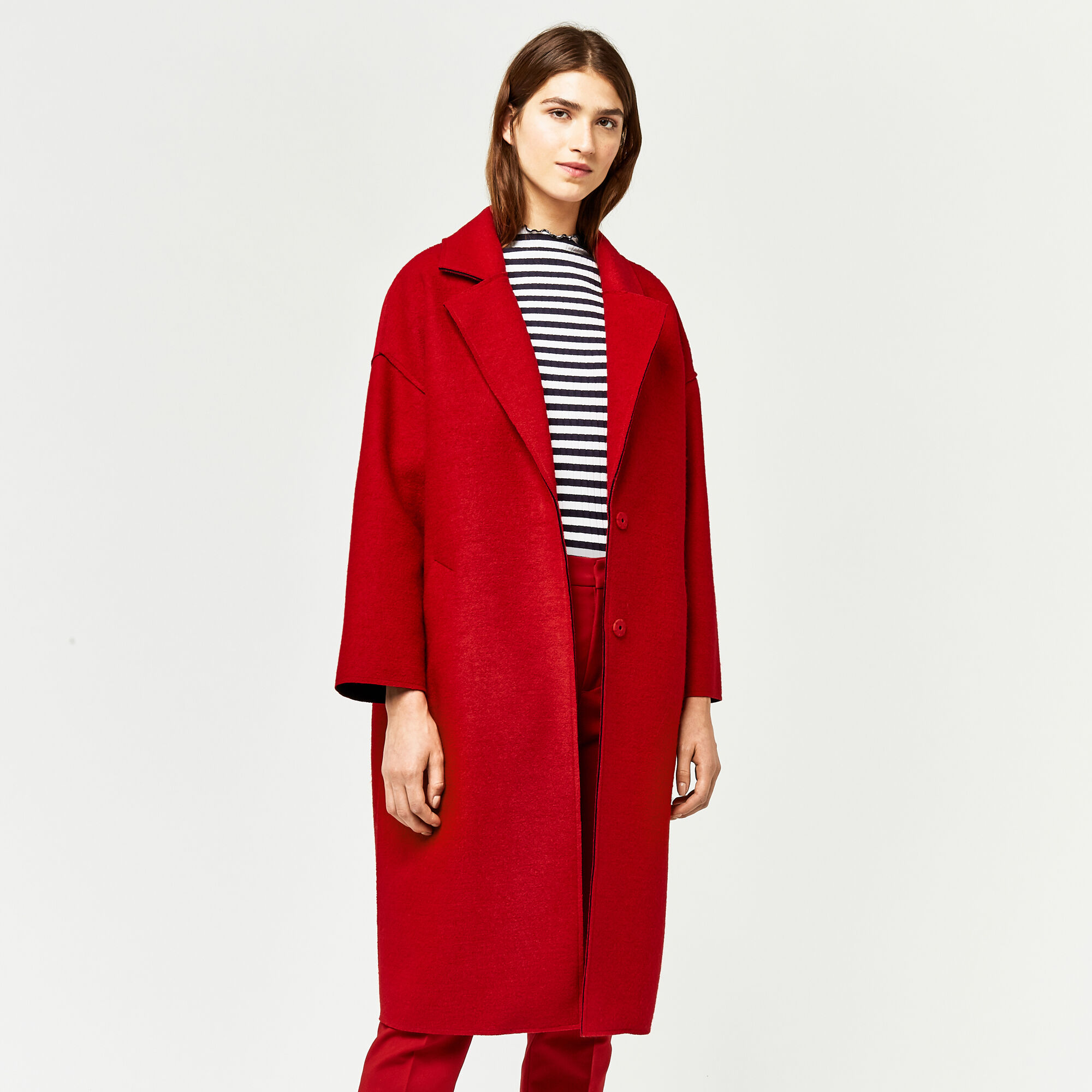 Warehouse, LONG BONDED SWING COAT Bright Red 1