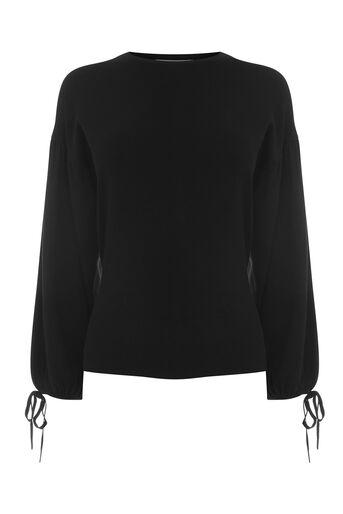Warehouse, BLOUSON TIE SLEEVE JUMPER Black 0