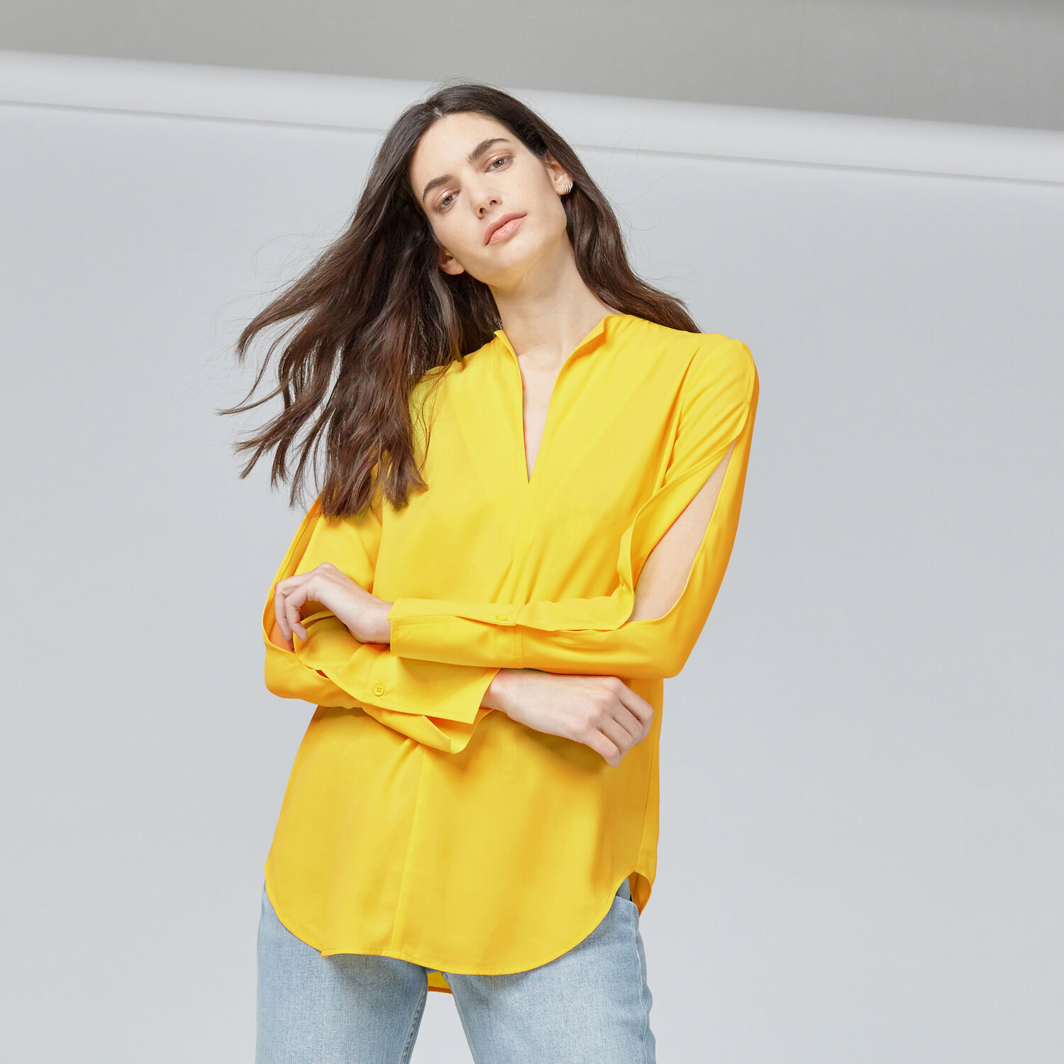 Warehouse, SPLIT SLEEVE BLOUSE Yellow 1