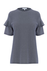 Warehouse, STRIPE FRILL SLEEVE TEE Blue Stripe 0