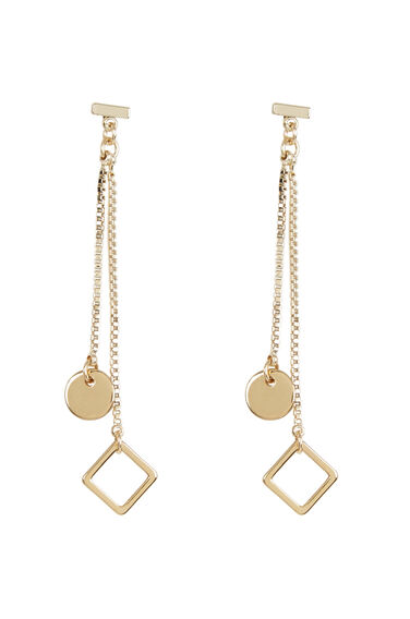 Warehouse, GOLD PLATED DROP RING EARRINGS Gold Colour 1