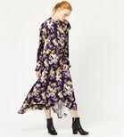 Warehouse, ORCHID PRINT FRILL MIDI DRESS Purple Pattern 1