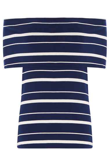 Warehouse, STRIPE DEEP BARDOT TOP Blue Stripe 0