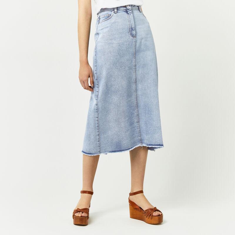 Warehouse, Bleached Maxi Skirt Bleach Denim 1