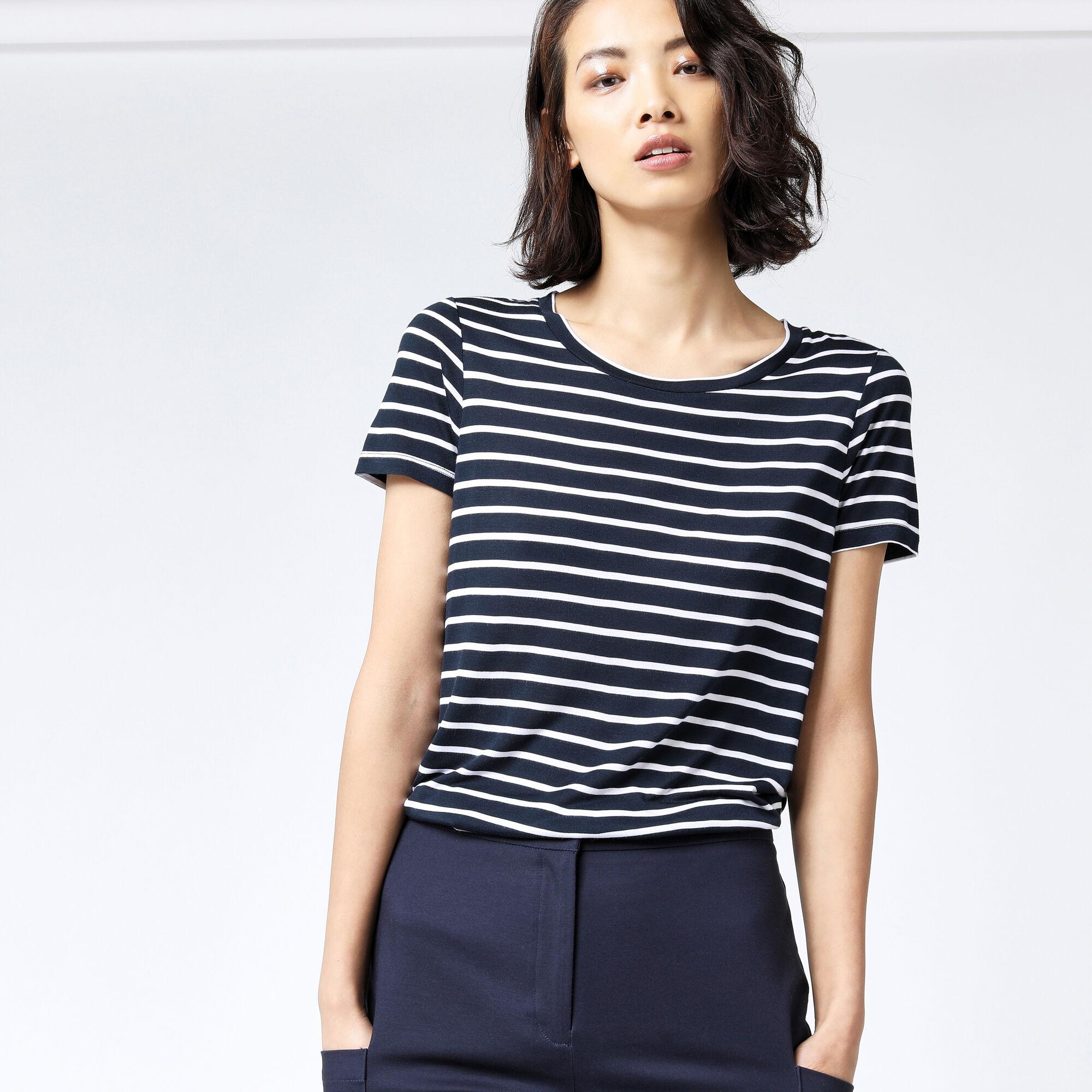 Warehouse, STRIPE SMART TEE Blue Stripe 1