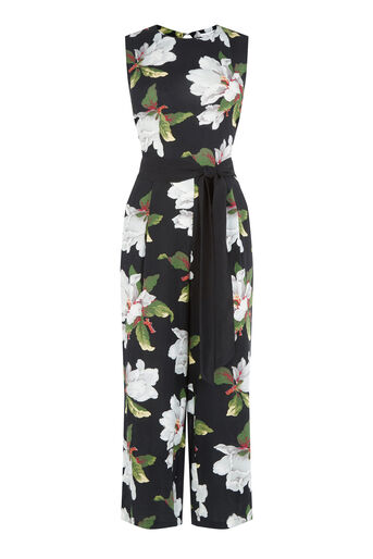 Warehouse, MAGNOLIA JUMPSUIT Black Pattern 0