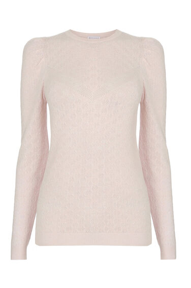 Warehouse, POINTELLE PUFF SLEEVE JUMPER Light Pink 0