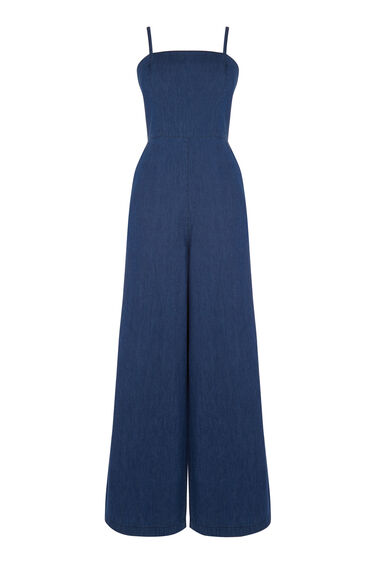 Warehouse, Strappy Jumpsuit Mid Wash Denim 0