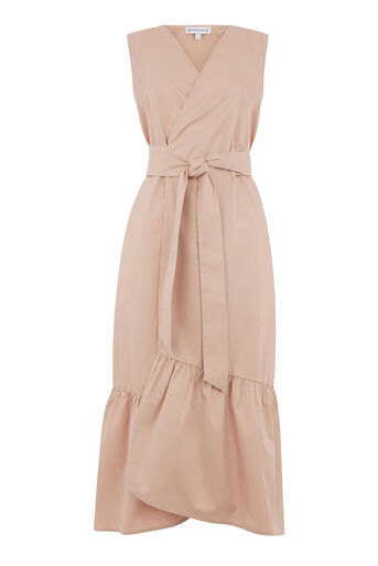 Warehouse, PEPLUM HEM WRAP DRESS Light Pink 0