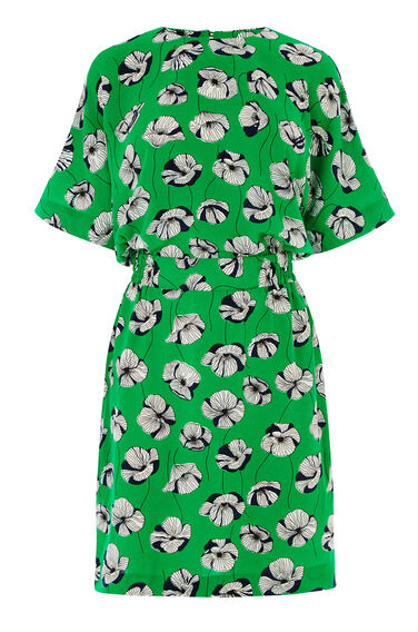 Warehouse, FLOATING FLORAL DRESS Green Print 0