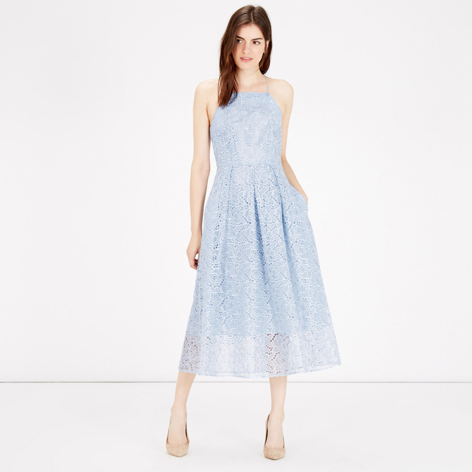 Warehouse, STRAPPY LACE MIDI DRESS Light Blue 1