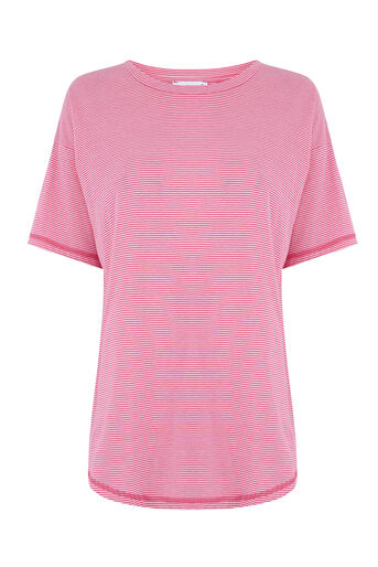 Warehouse, CASUAL STRIPE TEE Pink Stripe 0