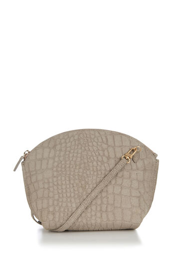 Warehouse, SUEDE CURVE TOP CROSSBODY BAG Light Grey 0