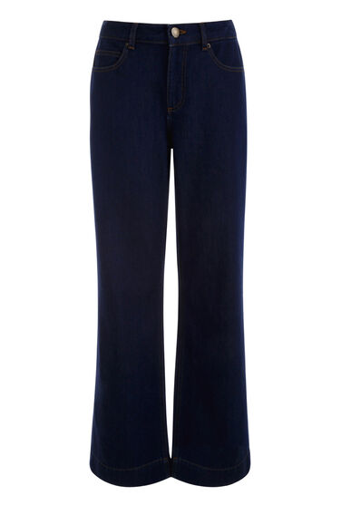 Warehouse, Super Wide Cut Jeans Indigo Denim 0