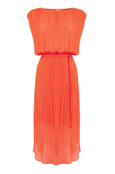 Warehouse, PLEATED CURVED HEM DRESS Orange 0