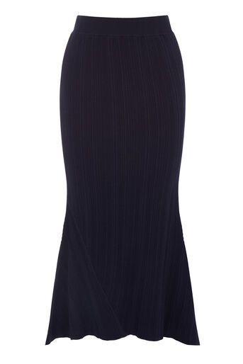 Warehouse, MULTI RIB ASYMMETRIC SKIRT Navy 0